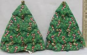 Image Is Loading Christmas Tree Oven Mitts Hot Pads W Brass