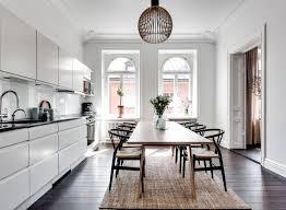 sisal teppich unter esstisch rechteckig weiße küche
