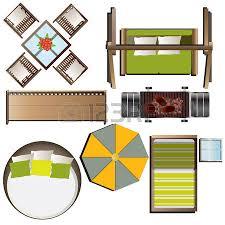 Outdoor Furniture Top View Set 16 For Landscape Design Vector Illustration
