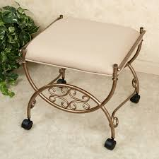 Bathroom Makeup Vanity Chair by Furniture Round Seat Vanity Stool With Wheels For Home Furniture