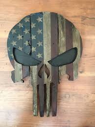 Reclaimed Wood Handpainted Punisher Spartan Or Boba Fett Mask With Star And Stripes By RuggedMooseDecor
