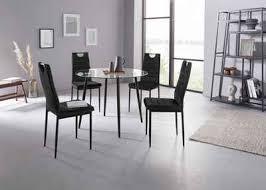 my home essgruppe danny mandy set 5 tlg runder glastisch ø 100 cm und 4 esszimmerstühlen bezug aus samtstoff