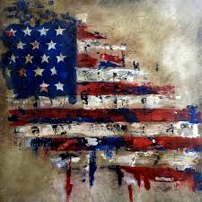Abstract Flag Painting American Veterans Canvas Pop Art By Fidostudio