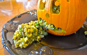Vomiting Pumpkin Dip by Boo Mama Genny Chips And Brains Or Vegan Avocado Corn And