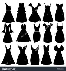 Vector Women Dress Silhouettes Stock 142925641