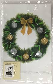 Handpainted Wreath with Ornaments Hand Towel Episcopal Shoppe