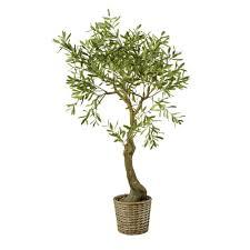 künstlicher olivenbaum im geflochtenen rattanübertop h153 maisons du monde