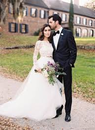 Dress Romantic Wedding Long Sleeve Lace Two Pieces