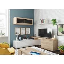 dmora wohnzimmer tv schrank mit hängeschrank mit glastür und regal farbe eiche und glänzendes weiß 44 x 200 x 41 cm