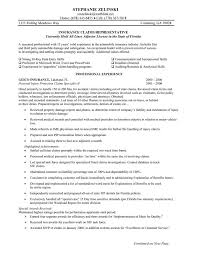 Sample Claims Adjuster Resume Insurance Agent Objective