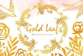 Gold Leaf Watercolor clipart Illustrations Creative Market