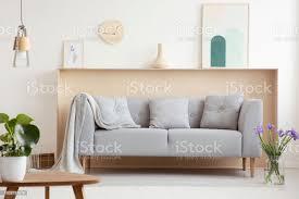 decke und kissen auf grauen sofa in weiß wohnzimmer interieur mit blumen und poster echtes foto stockfoto und mehr bilder beige
