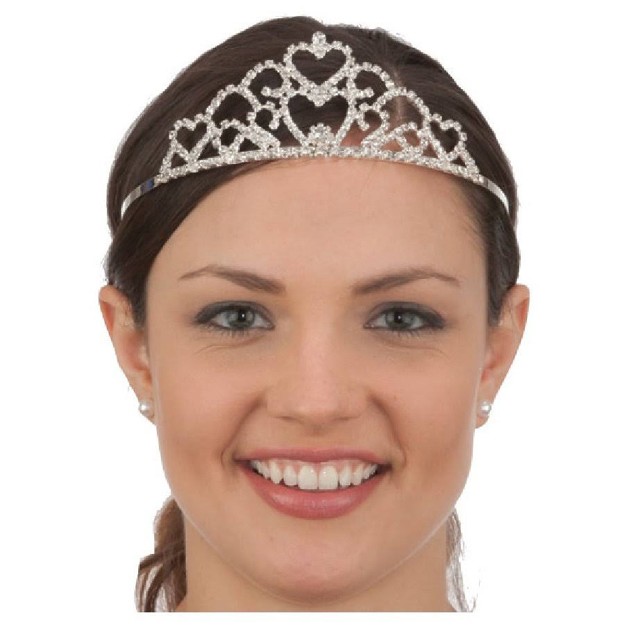 Jacobson Hat Company Silver Rhinestone Princess Tiara Crown Queen Double Heart Costume Headpiece