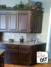 Gel Stain Cabinets Pinterest by Oak Cabinet Makeover With General Finishes Antique Walnut Gel