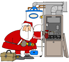 Royalty Free Clipart Image Of Santa Repairing A Furnace