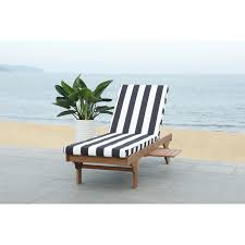 Safavieh Outdoor Living Newport Ash Black/ White Stripe Cart-Wheel  Adjustable Chaise Lounge Chair - 27.6
