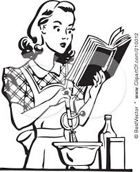 cookbook clip art black and white · vintage woman cooking clipart