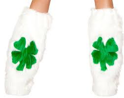 furry shamrock leg warmers