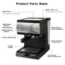 WISWELL Semi Automatic Espresso Machine Milk Steamer DL 310