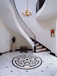 Entry Stair Hall With Marble Floor Traditional