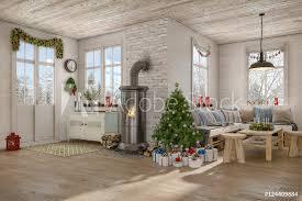 skandinavisches nordisches wohnzimmer mit einem sofa kamin