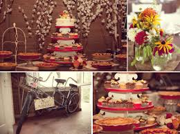 Delicious Dessert Table At Wedding Reception With Cupcake Tree Homemade Pies And Simple Ca