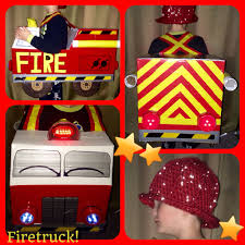 Homemade Firetruck Halloween Costume With Crocheted Helmet ...