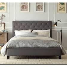Chester Queen Size Buttoned Fabric Bed Frame Grey