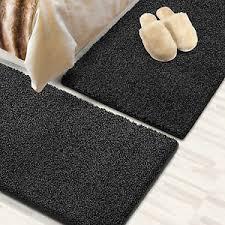 details zu läufer shaggy bettumrandung teppich für schlafzimmer im läuferset 3 teilig black