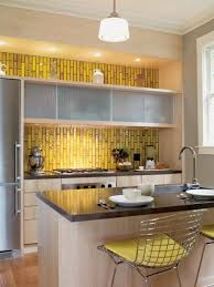 Gray Kitchen Ideas And Yellow Wall Tile