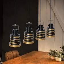 zmh pendelleuchte hängele vintage 40w pendelle e27 esstischle höhenverstellbar aus metall in schwarz gold 4 flammig kaufen otto