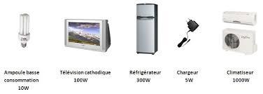 puisance moyenne des appareils électriques les plus courants