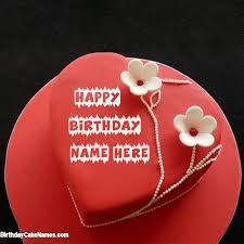 Famous Red Velvet Cake For Happy Birthday Wishes With Name with Name