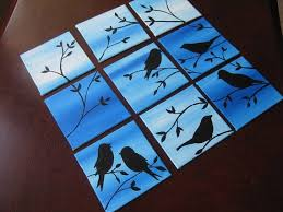 Multiple Canvas Paintings Flower Small 9 Birds Sparrows Canvases Set Bird Tiny Nine Painting Blue Trees Ideas For