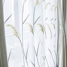 trigold bestickt transparent voile gardinen haken schönheit