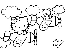 Hello Kitty Boarding Airplanes Coloring Pages For Kids Printable