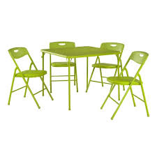 Cosco Flat Fold High Chair folding table u0026 plastic backed chair 5 piece set