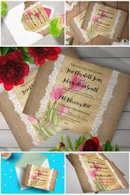 Hessian Lace Floral Watercolour Rustic Wedding Invitations Amazon