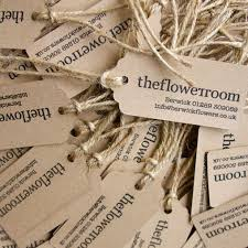Letterpress Printed Rustic Hairy Manilla Luggage Labels For The Flower Room Boutique Florists In