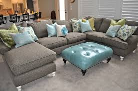 Grey White And Turquoise Living Room by Furniture White Leather U Shaped Sectional Sofa With Arched Lamp