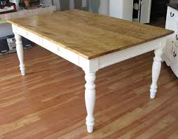 Modest Farm Kitchen Table Wood Made Furnished With Applying White Turned Legs And Natural Finish Rectangle