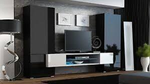 details zu wohnwand anbauwand wohnzimmer möbel schwarz weiß