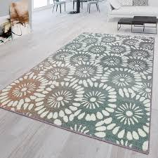 kurzflor teppich florales design abstrakt grün lila