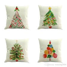 2017 New 14 Styles Merry Christmas Cushion Cover Colour Paintings Tree Red Car Covers Decorative Linen Beige Pillow Case