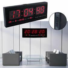 details zu led wanduhr digitaluhr mit datum temperatur wohnzimmer große küchuhr in rot