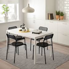 melltorp adde table and 4 chairs white black ikea