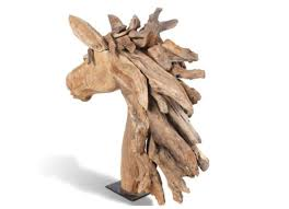 Handcrafted Teak Wood Horse Head Sculpture
