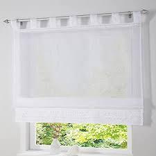 simpvale 1 stück gardine raffrollo schlaufenschal fenster vorhang für küche wohnzimmer schlafzimmer weiß breite 120cm höhe 165cm