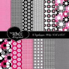 Black White Fuchsia And Pink Retro Geometrics Flowers Dot