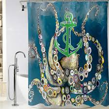 Anchor Octopus in the Deep Blue Sea Shower Curtain Cheap